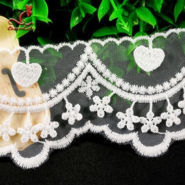 Cotton White Embroidered Lace Trim 5.6cm Width Static - Cling Resistant